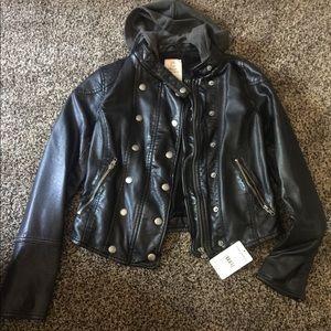 COPY - Free People vegan leather jacket w/hoodie …